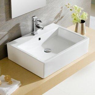 modern ceramic rectangular vessel bathroom sink with overflow - Unique Bathroom Sinks