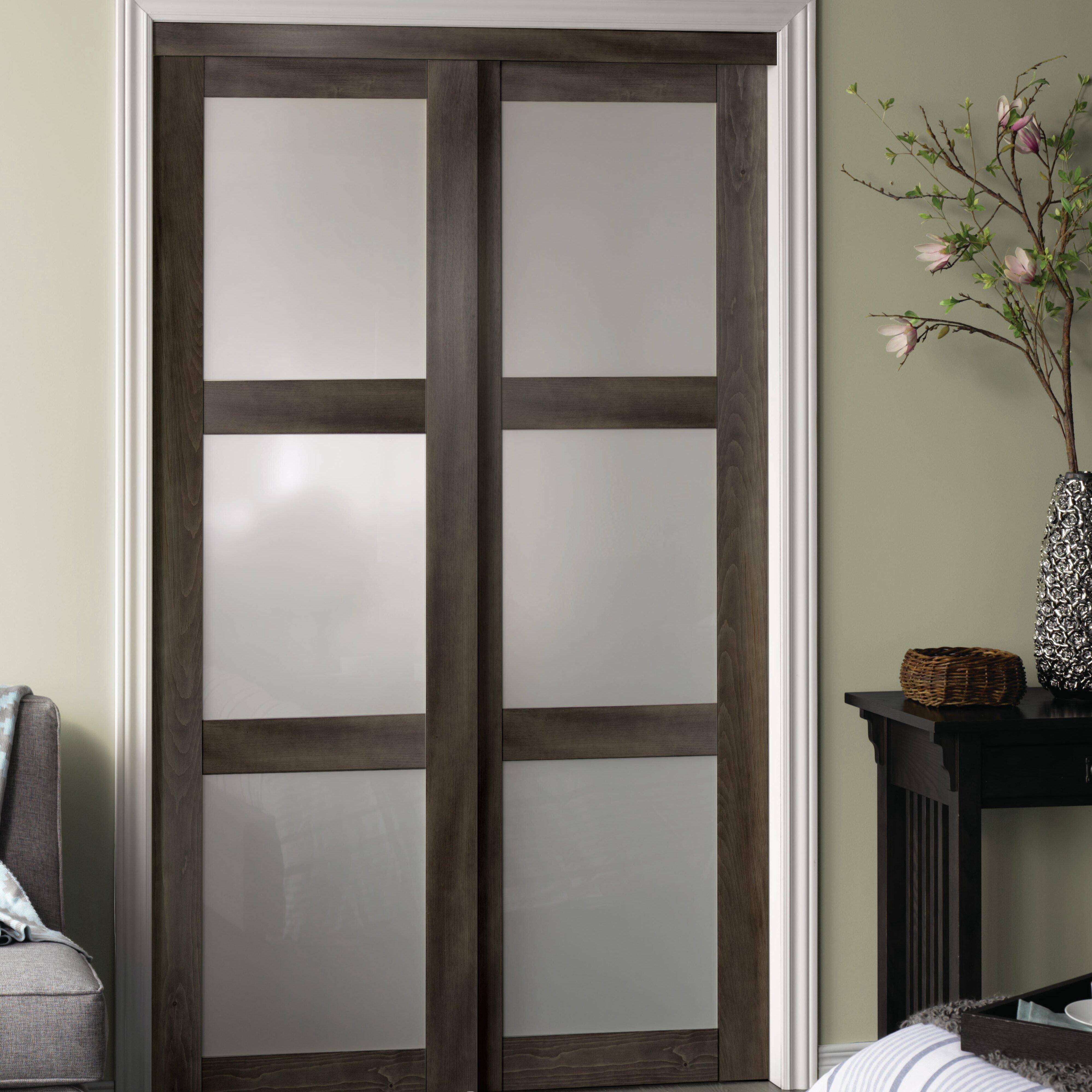 Erias Home Designs Baldarario Gl Sliding Closet Doors Reviews Wayfair
