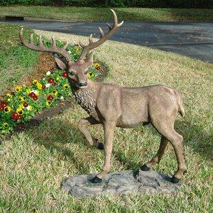 Grand Scale Black Forest Garden Deer Statue