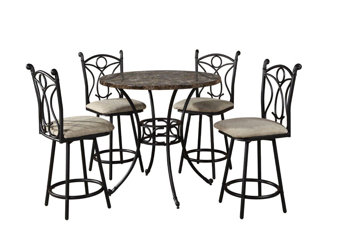 hazelwood home 5 piece pub table set reviews wayfair. Black Bedroom Furniture Sets. Home Design Ideas