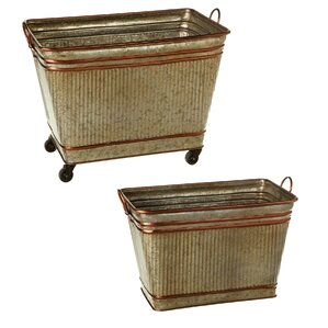 Elsworth Ribbed Galvanized 2 Piece Storage Bin Set