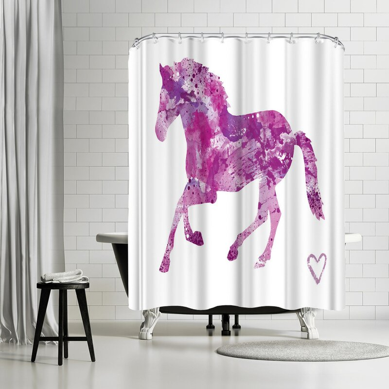 Allison Gray Horse Shower Curtain