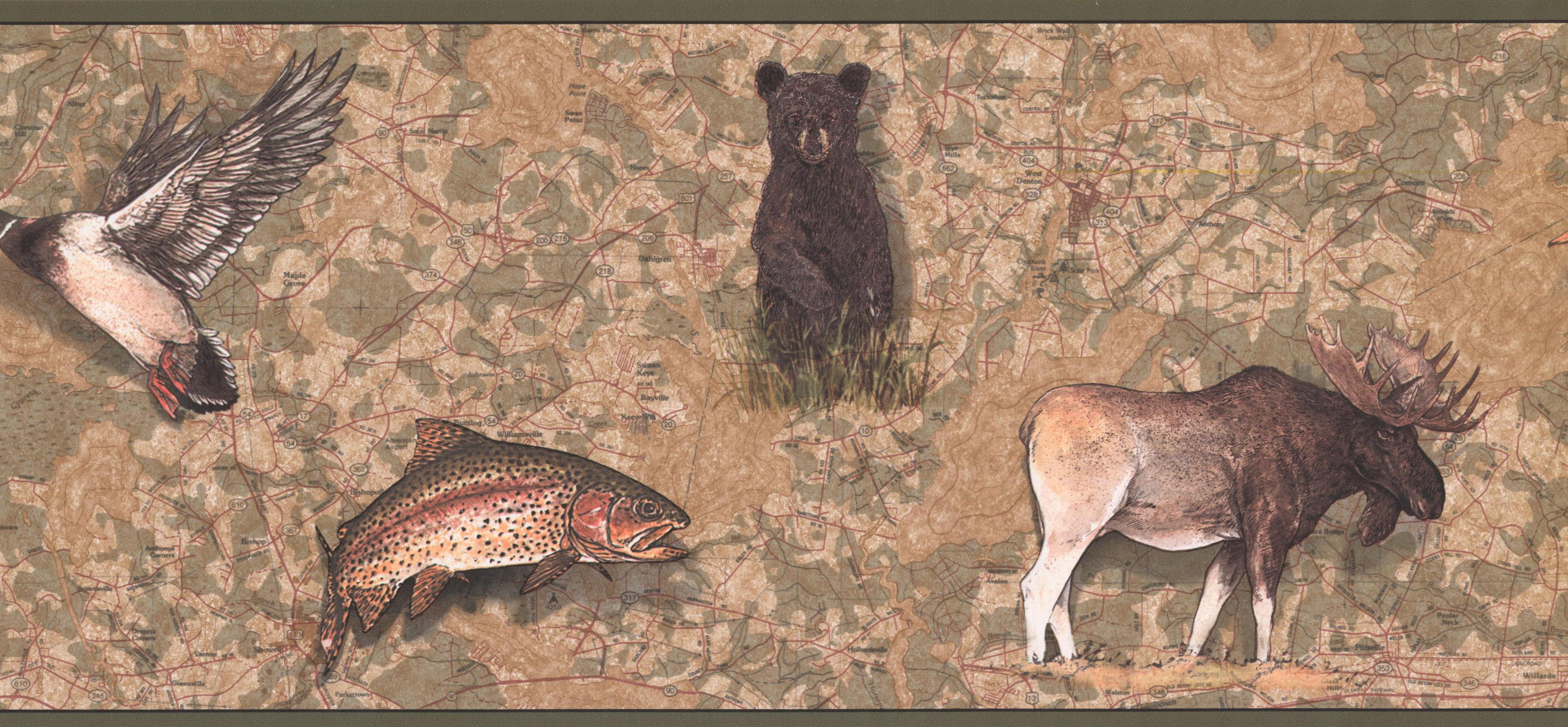 bordeR,Wall decor BEARS FISH AND MOOSE IN FRAMES HUNTING SEASON Wallpaper