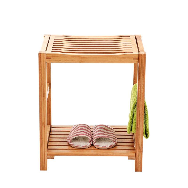 Highland Dunes Barnwell Bamboo Shower Seat with Storage Shelf ...