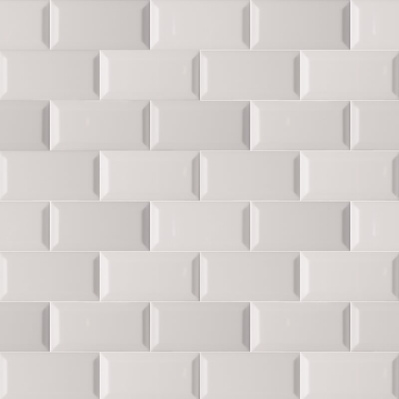 3 X 6 Beveled Ceramic Subway Tile In Glossy Gray