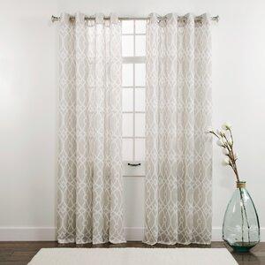 Dorian Geometric Semi-Sheer Grommet Single Curtain Panel