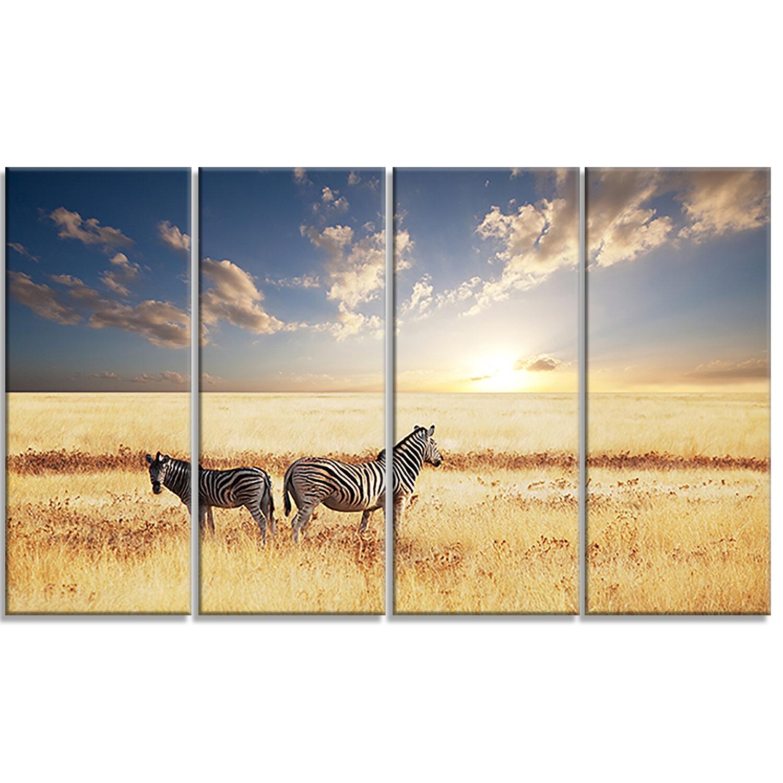 DesignArt \'Zebras in Beautiful Grassland at Sunset\' 4 Piece ...
