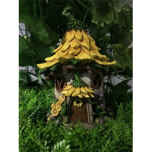 Fairy Garden House with Sunflower Roof - Solar LED Lights Statue