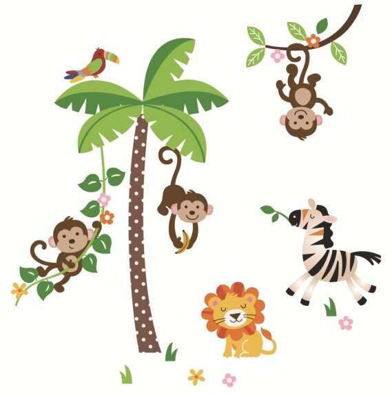 Mischievous Monkeys Nursery Wall Decal