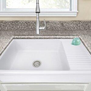 lovely farmhouse kitchen sink drainboard | Farmhouse Sinks You'll Love | Wayfair