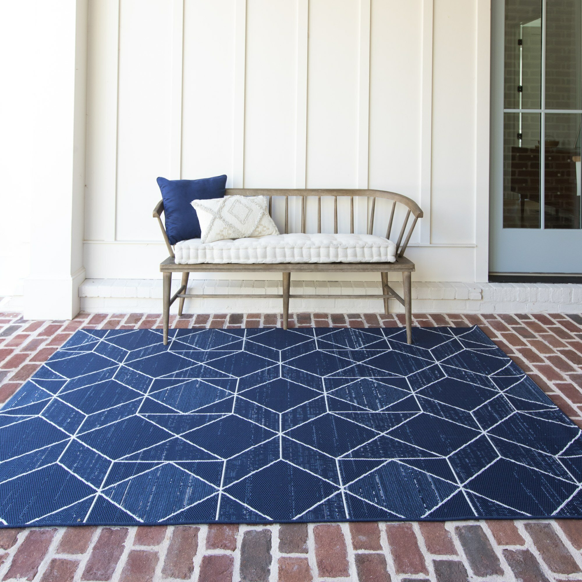 Wrought Studio Anoka Geometric Blue Indoor Outdoor Area Rug