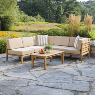 Bali 6 Piece Teak Sectional Set With Cushions