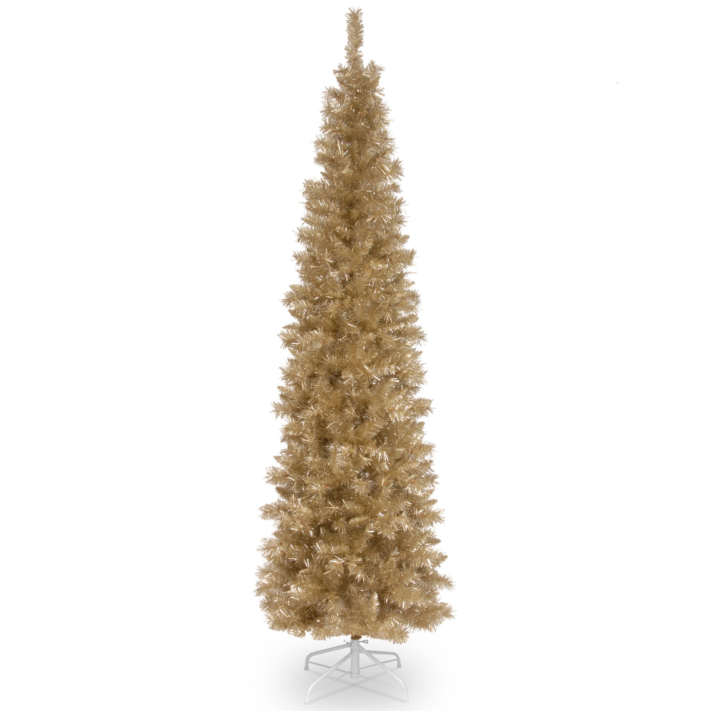 Champagne Gold 7 Fir Artificial Christmas Tree With Metal Stand