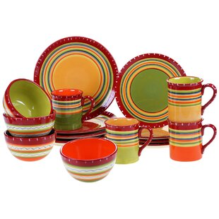 Candelas 16 Piece Dinnerware Set  sc 1 st  Wayfair : orange square dinnerware - Pezcame.Com