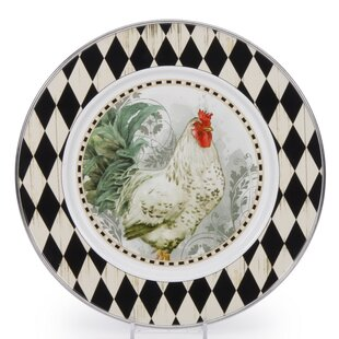 Burrier Rooster Royale 11\  Dinner Plate (Set of 4)  sc 1 st  Wayfair & Black And White Rooster Plates | Wayfair