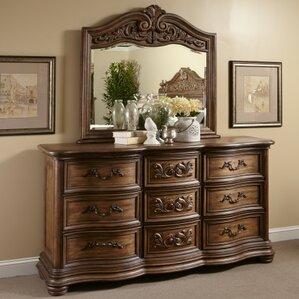 Alderwood 9 Drawer Dresser with Mirror by Fleur De Lis Living