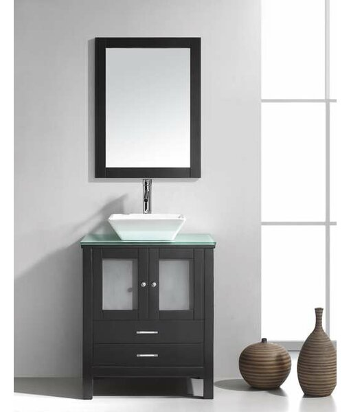 "Bathroom Vanity Glass Top virtu usa brentford 28"" single bathroom vanity set with tempered"