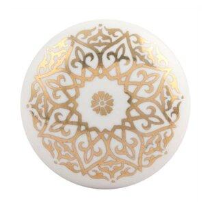 Great Golden Flower Flat Ceramic Drawer Knob