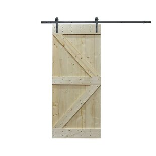 Paneled Wood Primed Knotty Pine Sliding Interior Diy Barn Door With Installation Hardware Kit