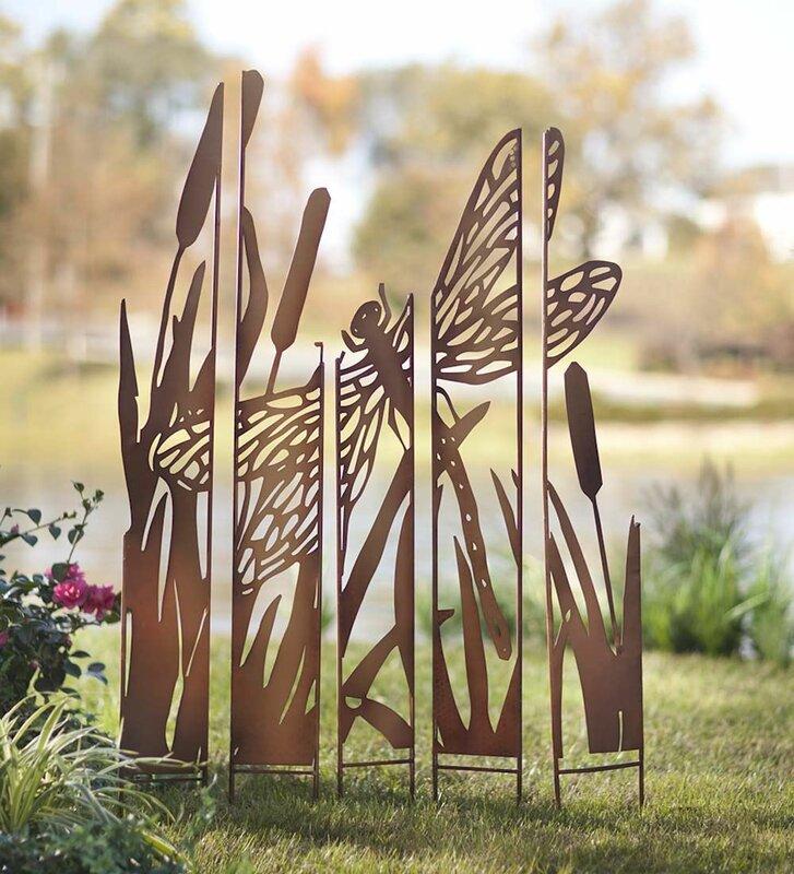 Metal Panel Dragonfly Garden Stake
