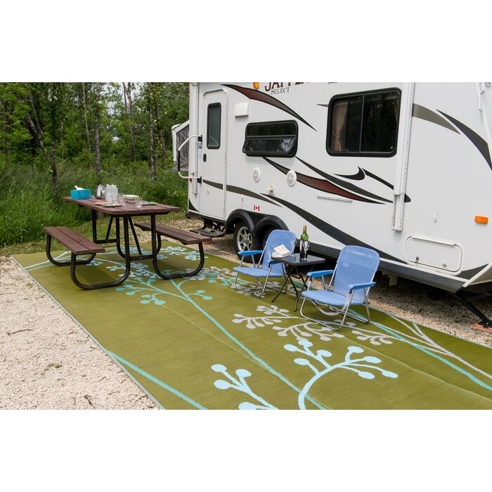 Delightful Fernando Reversible RV/Camping/Patio Mat In Blue/Green Outdoor Area Rug