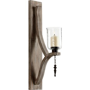 Iron Glass and Wood Giorno Wall Sconce