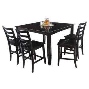 Grannis 5 Piece Counter Height Solid Wood Dining Set