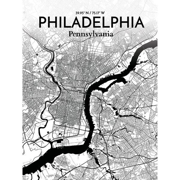 Ourposter philadelphia city map graphic art print poster in ourposter philadelphia city map graphic art print poster in ink wayfair freerunsca Gallery