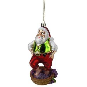 Tuscan Winery Santa Claus Stomping Grapes Glass Christmas Ornament