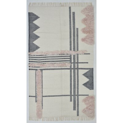 Union Rustic Christenson Handwoven Wool Charcoal Area Rug Rug Size: Rectangle 5' x 8'