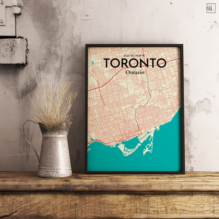 Ourposter toronto city map graphic art print poster in toronto city map graphic art print poster in tricolor gumiabroncs Choice Image