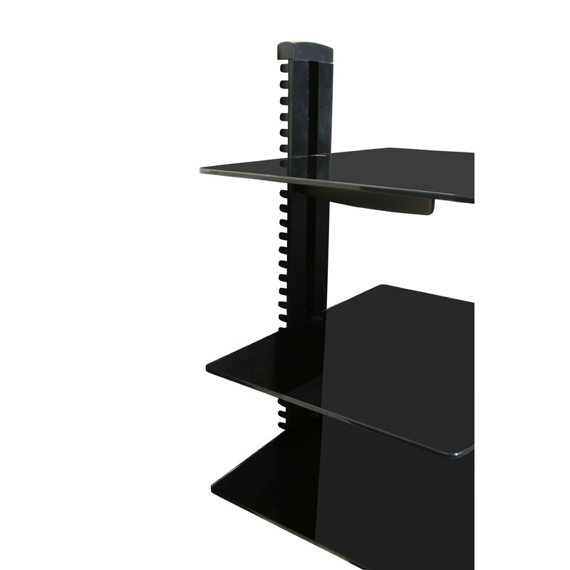 Wall Mounted Av Component Shelving System With 3 Adjule Tempered Gl Shelves