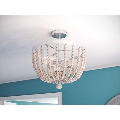 Bay Isle Home Tilden Wood Bead 3-Light Semi Flush Mount Shade Color: White