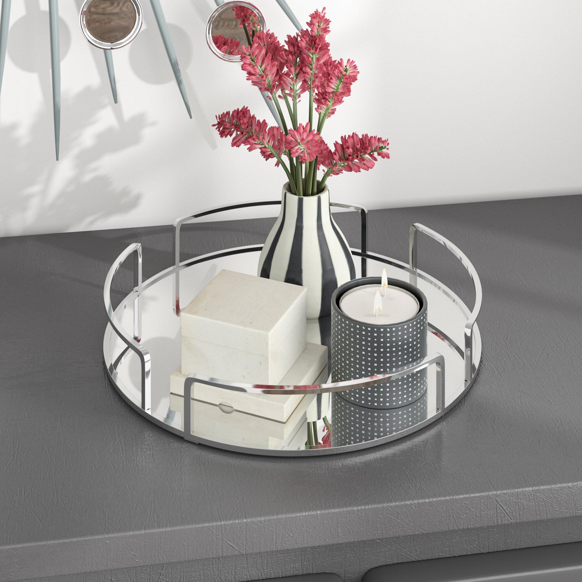Orren Ellis Erela Modern Round Design Mirror Vanity Tray Reviews