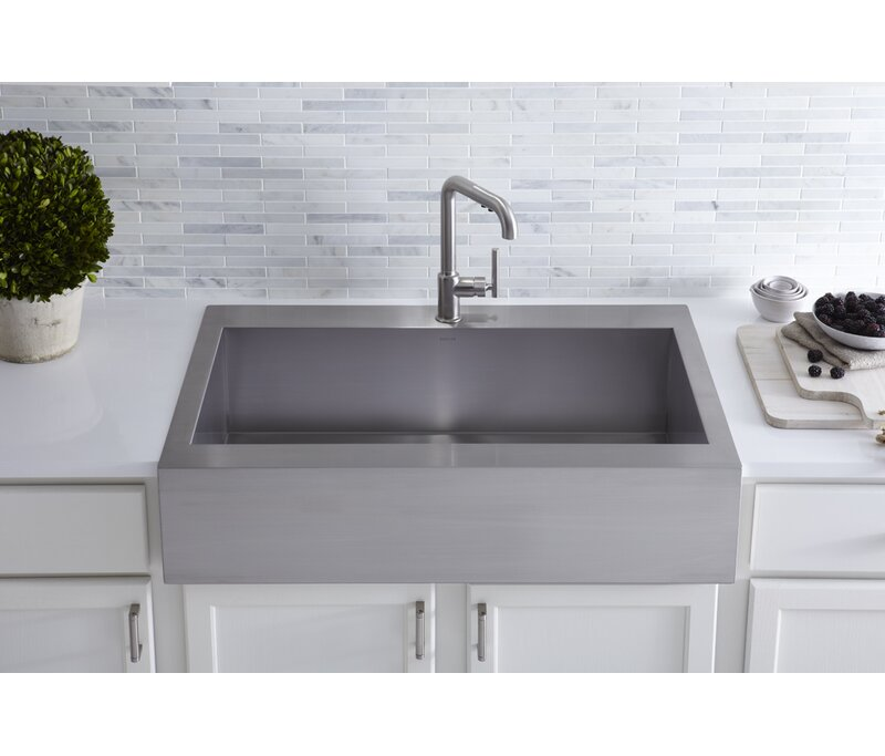 Vault Top-Mount Single-Bowl Stainless Steel Kitchen Sink with Shortened Apron-Front  sc 1 st  Wayfair & K-3942-1-NA Kohler Vault Top-Mount Single-Bowl Stainless Steel ...