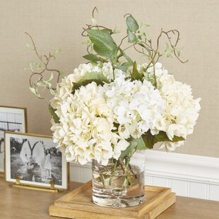 Artificial flower arrangements youll love wayfair faux hydrangea with vines in vase mightylinksfo