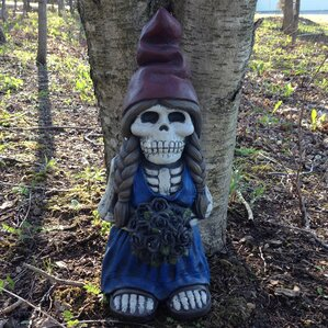 Skeleton Lady Gnome with Flower Statue