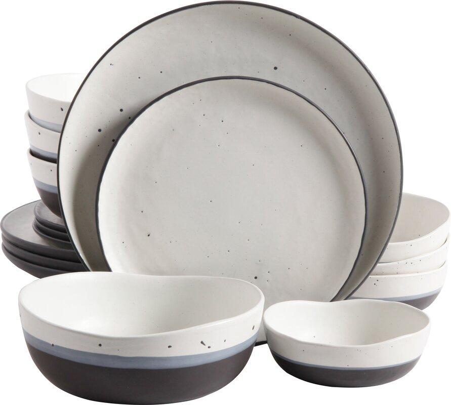 Thistle Double Bowl 16 Piece Dinnerware Set Service for 4  sc 1 st  Wayfair & Mint Pantry Thistle Double Bowl 16 Piece Dinnerware Set Service for ...
