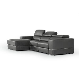 Wade Logan Galena L-Shaped Leather Reclining Sectional Image