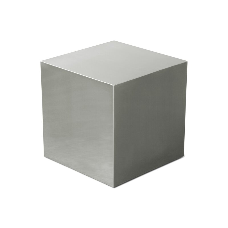 Merveilleux Stainless Steel Cube End Table