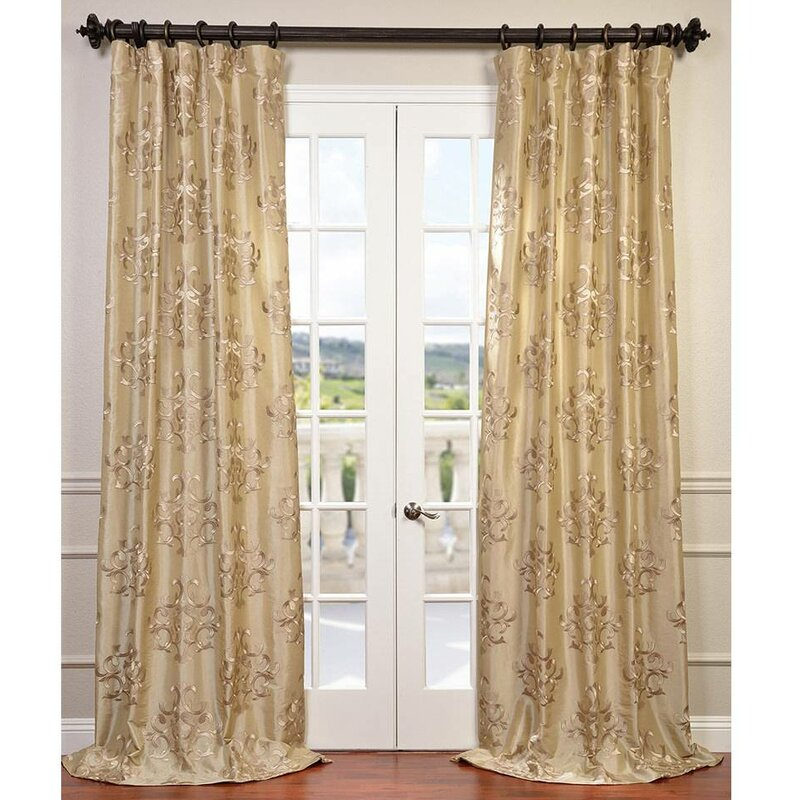 Half Price Drapes Ankara Damask Embroidered Faux Silk Rod Pocket