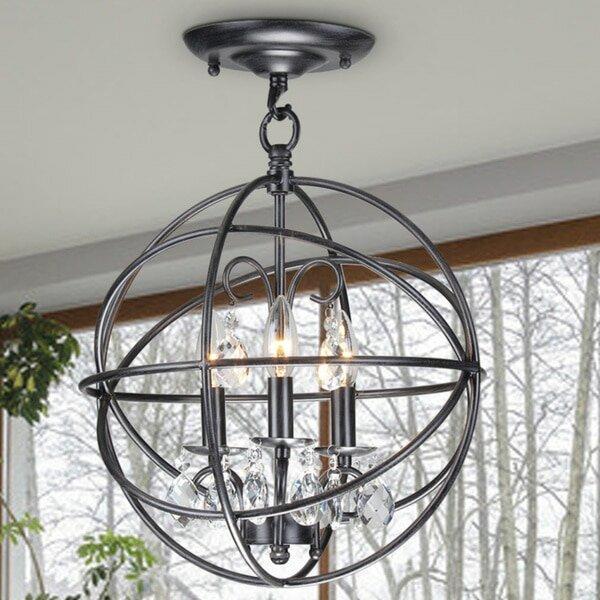 Dalveen Antique Metal Globe Crystal 3 Light Semi Flush Mount