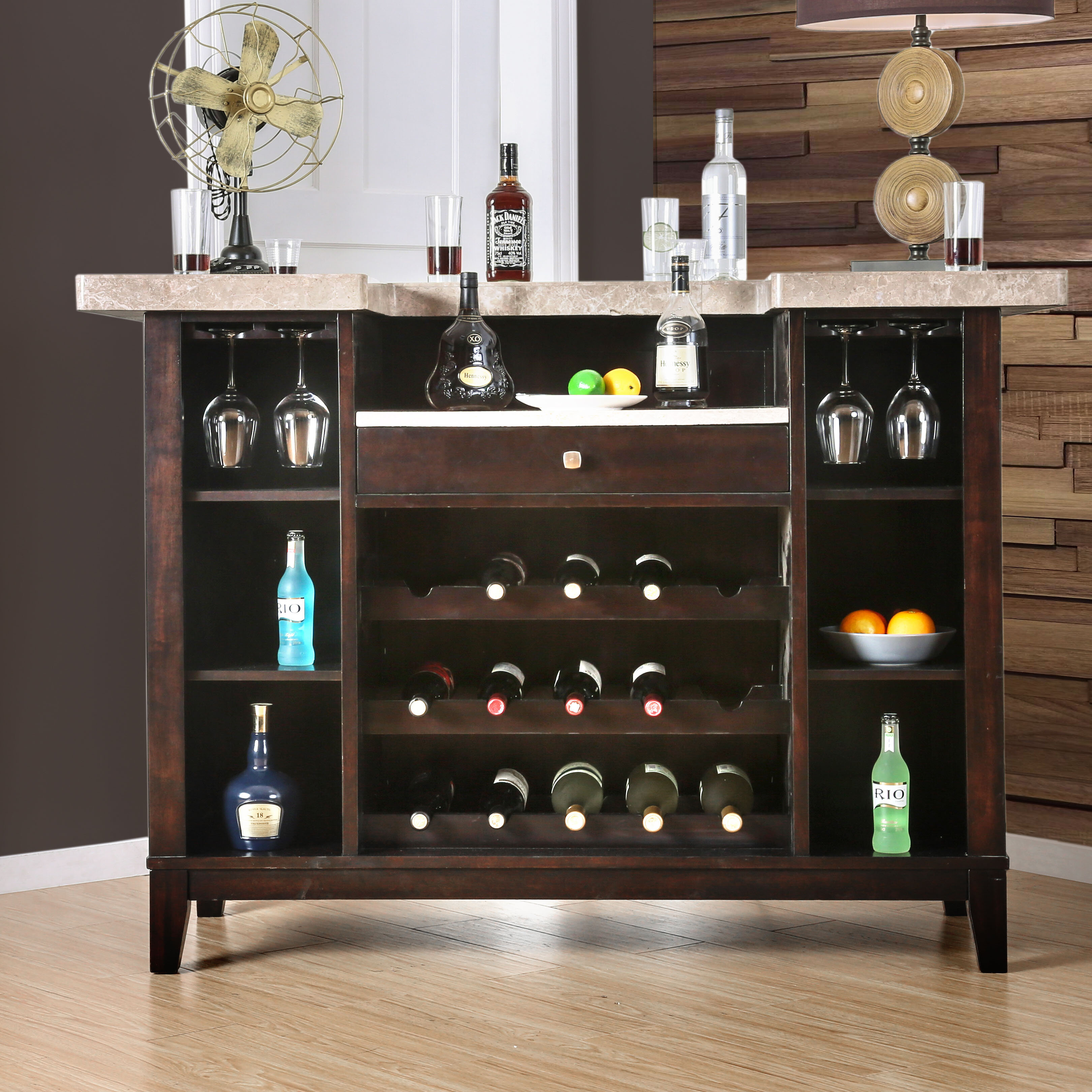 & Darby Home Co Du0027Amato Transitional Bar Table with Wine Storage | Wayfair