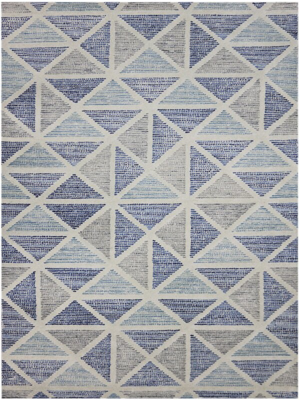 Callista Hand Tufted Wool Blue Smoke Gray Area Rug