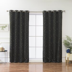 Geometric Blackout Thermal Grommet Curtain Panels (Set of 2)