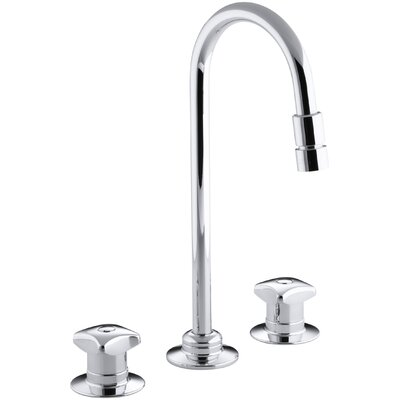 Triton Widespread Commercial Bathroom Sink Faucet With Rigid Connections And Gooseneck Spout Vandal Resistant