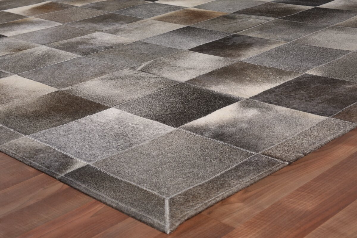 Natural Hide Leather Gray Multi 12 X15 Area Rug