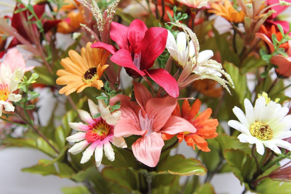 Admiredbynature 18 stems artificial alstromeria and daisy mixed 18 stems artificial alstromeria and daisy mixed flowers bush for home office wedding restaurant reviewsmspy