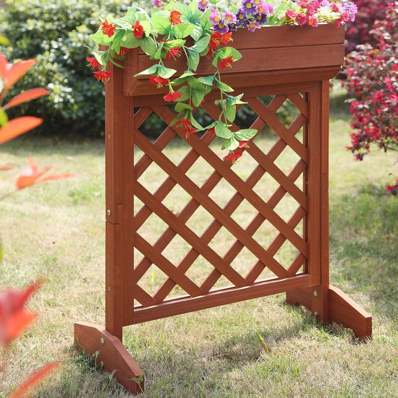 planters and potts fir wood planter box with trellis - Wood Planters