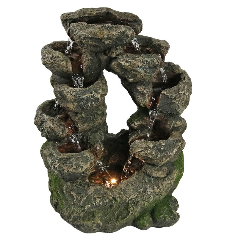 Tabletop Water Fountain Part - 39: Fiberglass Multi-Level Split Rock Falls Tabletop Water Fountain With Light